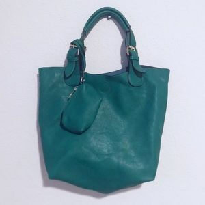 Cute green vegan leather hobo bag with coin pouch!